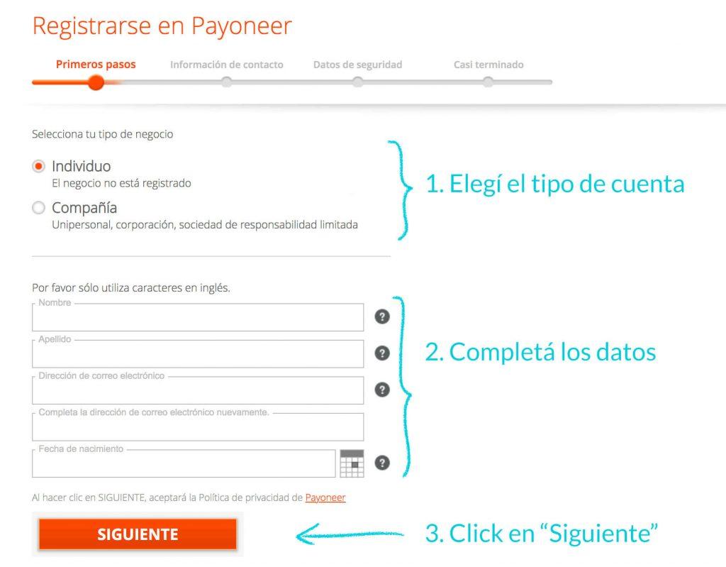 como abrir una cuenta en Payoneer