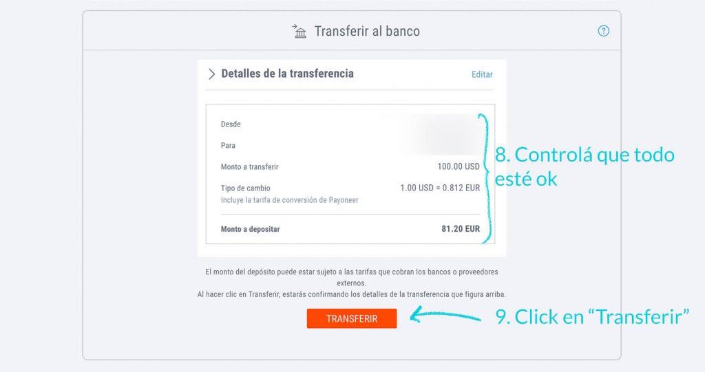 como transferir de payoneer a banco